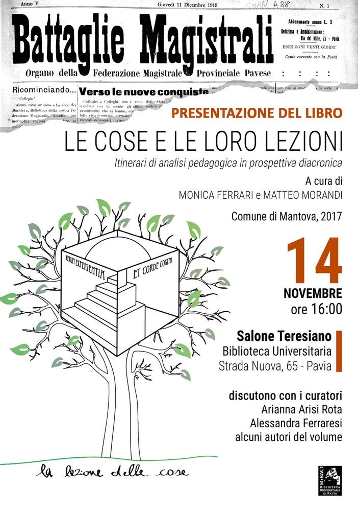 """Presentazione del volume """"Le cose e le loro lezioni. Itinerari di analisi pedagogica in prospettiva diacronica"""" – 14 novembre, Pavia"""