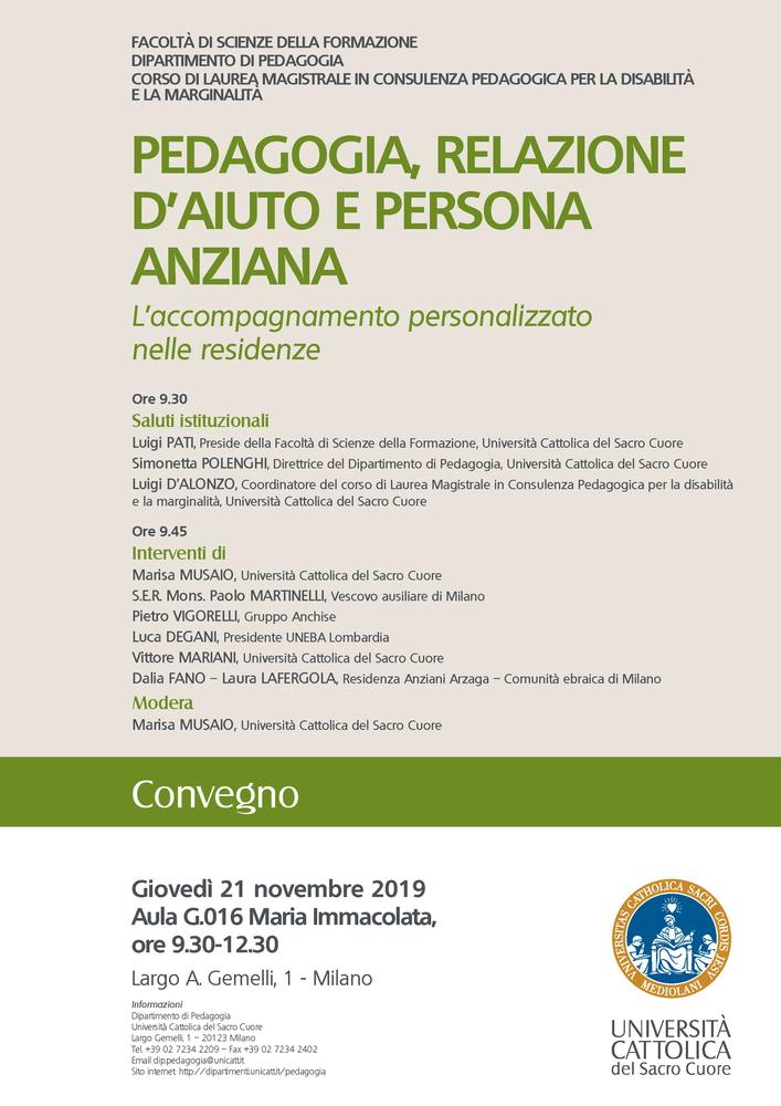 """Convegno """"Pedagogia, relazione d'aiuto e persona anziana. L'accompagnamento personalizzato nelle residenze"""" – 21 novembre, Milano"""