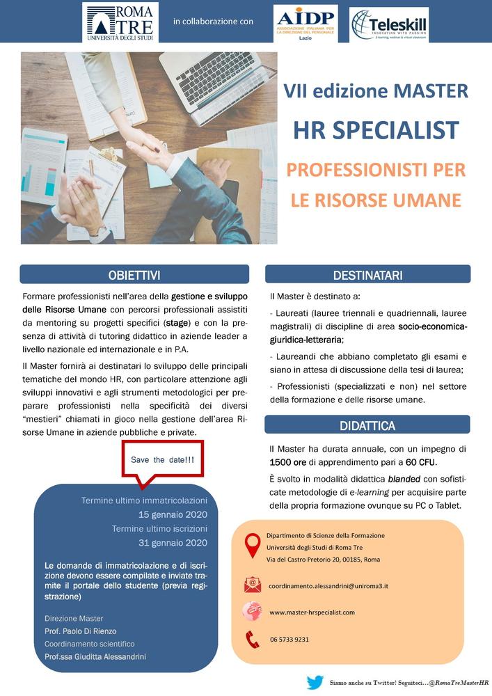 """Master HR Specialist """"Professionisti per le Risorse Umane"""" – Roma"""