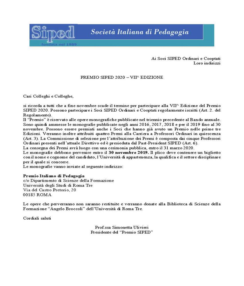 2019-10-30 – Premio SIPED 2020
