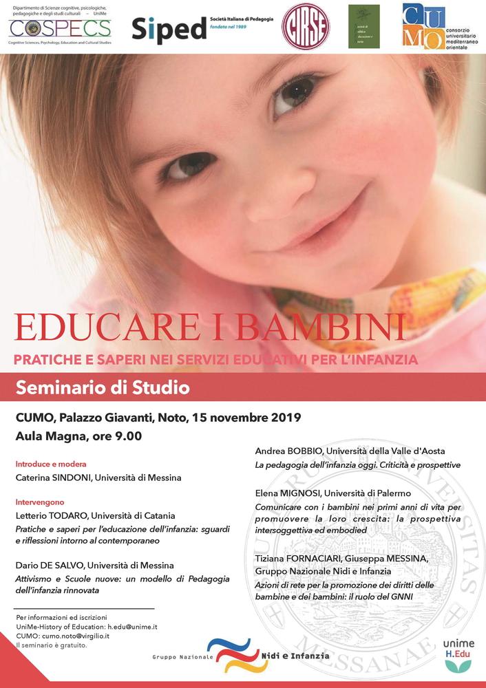 """Seminario di studio """"Educare i bambini. Pratiche e saperi nei servizi educativi per l'infanzia"""" – 15 novembre, Noto (Sr)"""