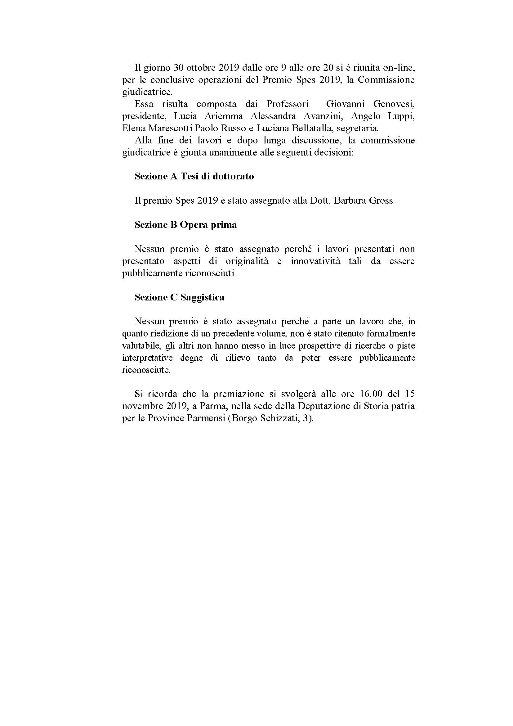 Premiazione premio SPES 2019 – 15 novembre, Parma