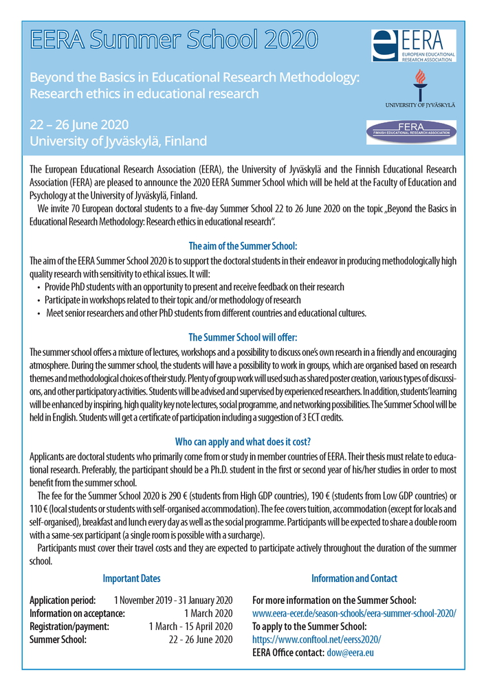"Summer School ""EERA Summer School 2020"" – 22-26 giugno 2020, Jyväskylä (Finland)"