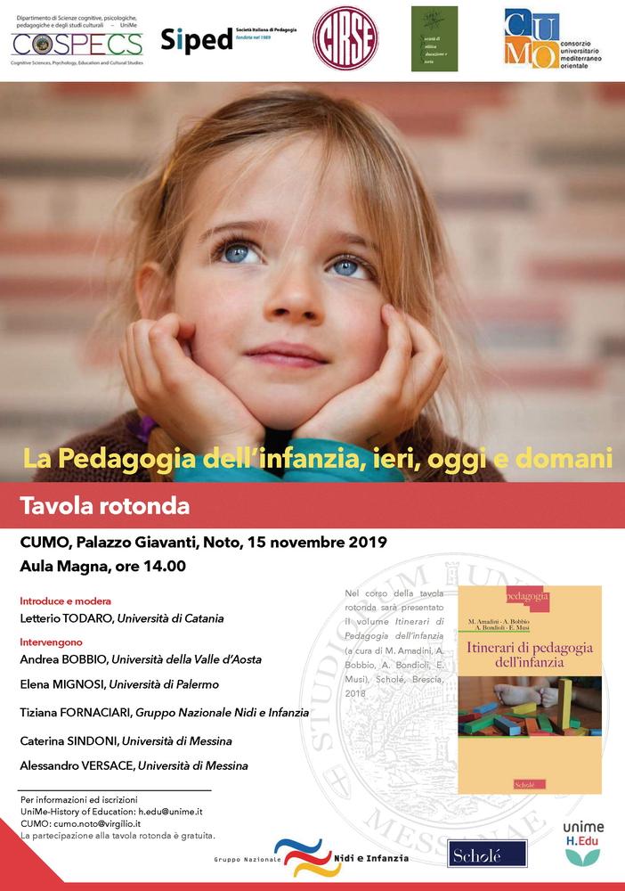 """Tavola Rotonda """"La Pedagogia dell'infanzia, ieri, oggi e domani"""" – 15 novembre, Noto (Sr)"""