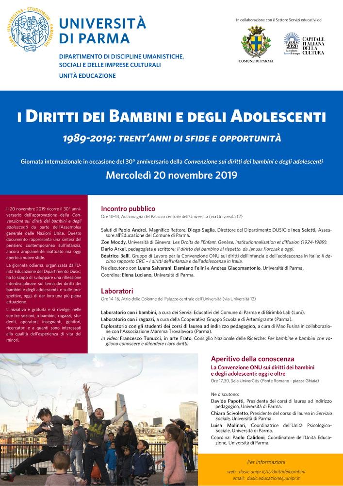 """Giornata di studio """"I diritti dei bambini e degli adolescenti. 1989-2019: trent'anni di sfide e opportunità"""" – 20 novembre, Parma"""