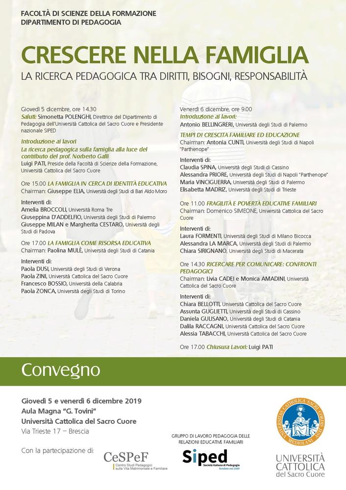 """Convegno """"Crescere nella famiglia. La ricerca pedagogica tra diritti, bisogni, responsabilità"""" – 5-6 dicembre, Brescia"""