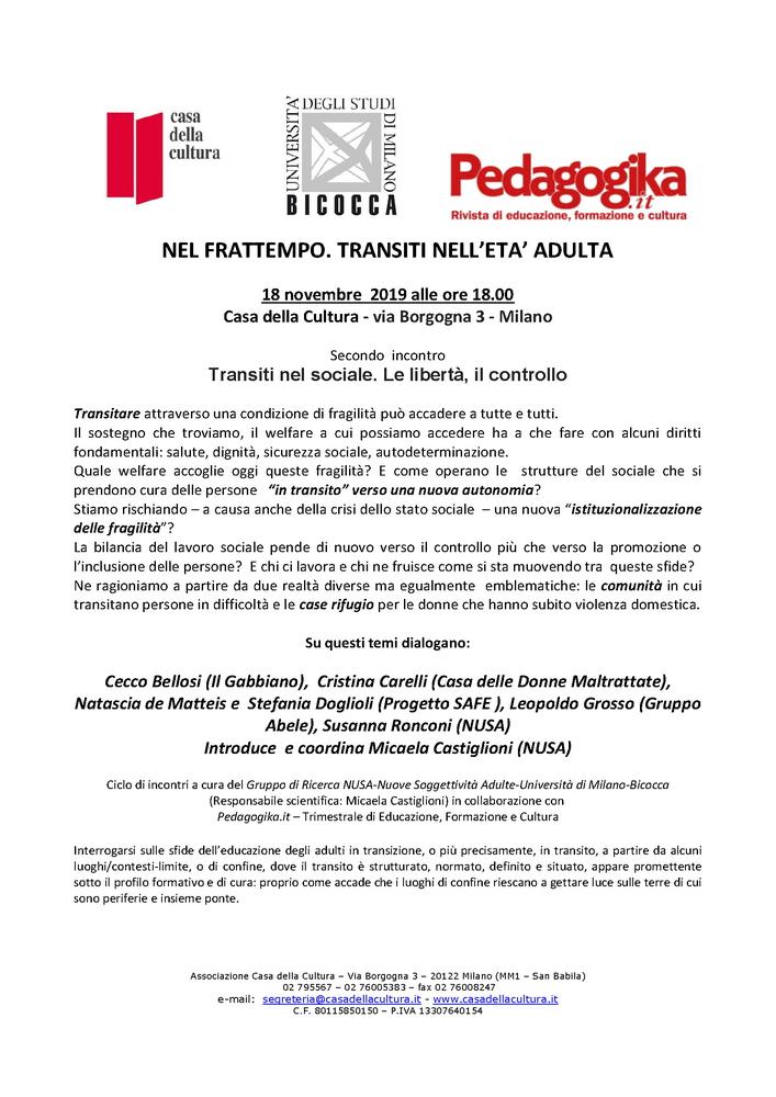 """Seminario """"Nel frattempo. Transiti nel sociale"""" – 18 novembre, Milano"""