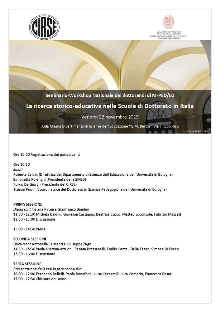 """Seminario-Workshop """"La ricerca storico-educativa nelle Scuole di Dottorato in Italia"""" – 22 novembre, Bologna"""