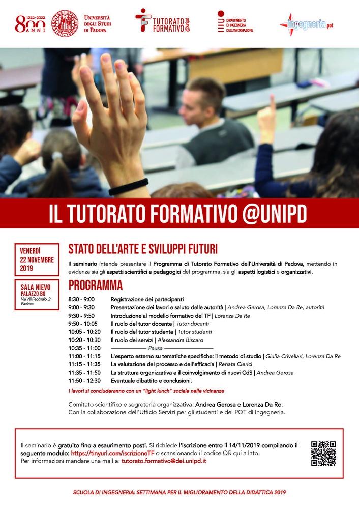 """Seminario """"Il Tutorato Formativo @unipd"""" – 22 novembre, Padova"""