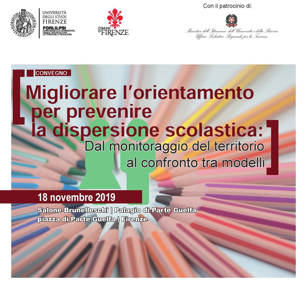 """Convegno """"Migliorare l'orientamento per prevenire la dispersione scolastica. Dal monitoraggio del territorio al confronto tra modelli"""" – 18 novembre, Firenze"""