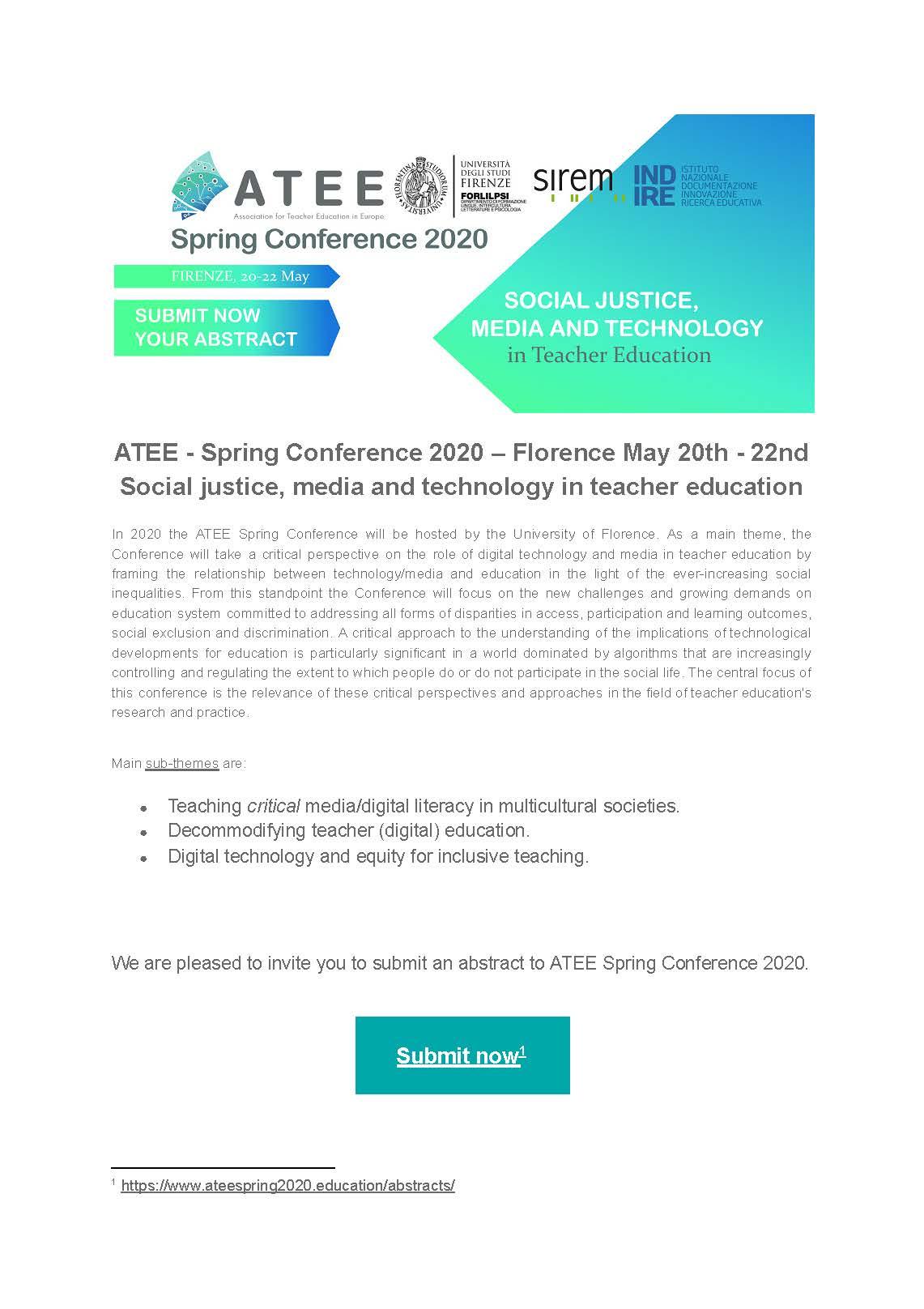 "Conferenza europea ""ATEE Spring Conference 2020"" – 20-22 maggio 2020, Firenze"