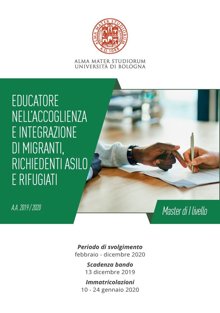 """Master di I livello in """"Educatore nell'accoglienza e integrazione di migranti, richiedenti asilo e rifugiati"""" – febbraio-dicembre 2020, Bologna"""