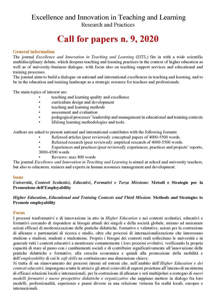 """Call for paper della rivista """"Excellence and Innovation in Learning and teaching. Research and Practes"""" dal titolo """"Università, Contesti Scolastici, Educativi, Formativi e Terza Missione: Metodi e Strategie per la Promozione dell'Employability""""."""