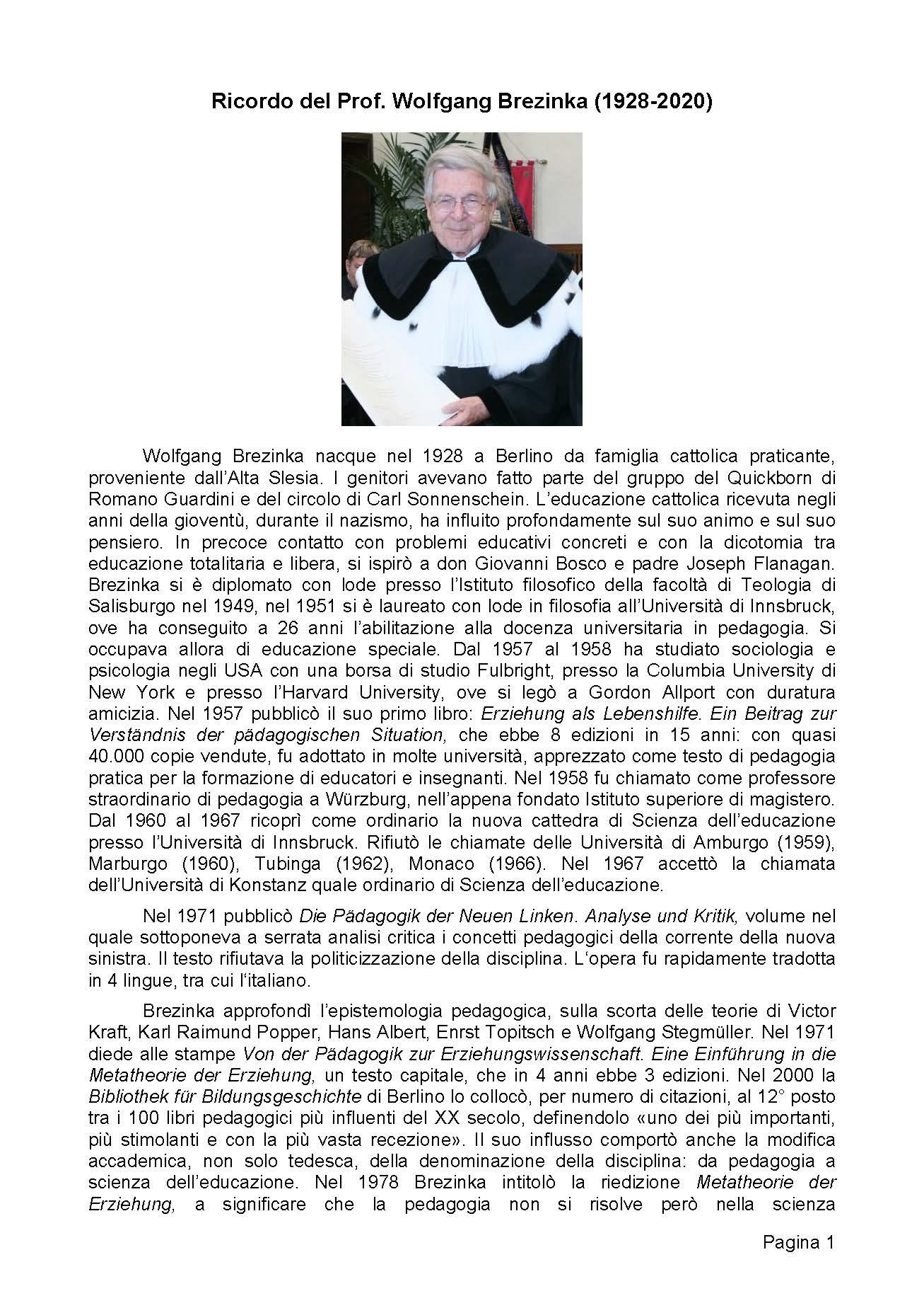 2019-02-04 – Scomparsa del prof. Wolfgang Brezinka