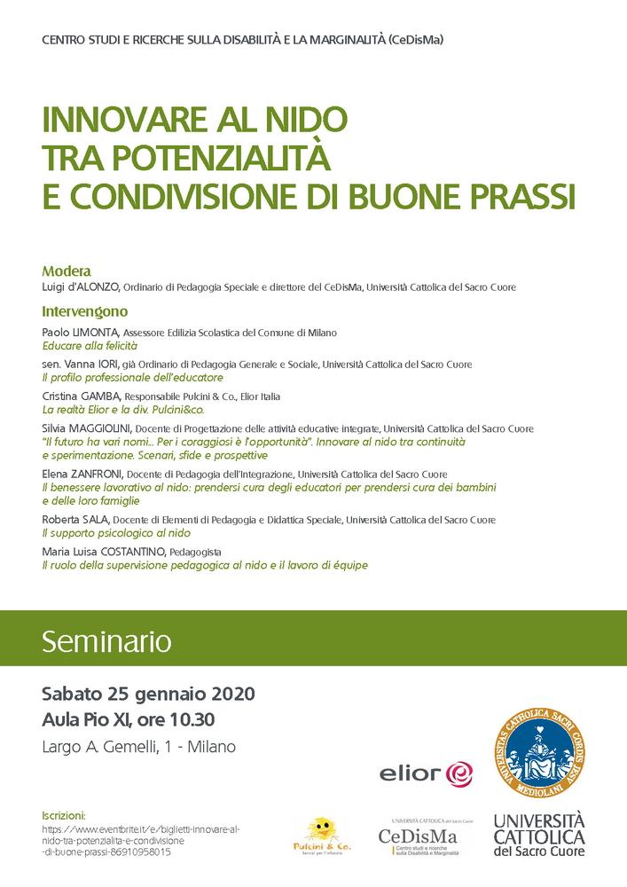 """Seminario """"Innovare al nido tra potenzialità e condivisione di buone prassi"""" – 25 gennaio, Milano"""