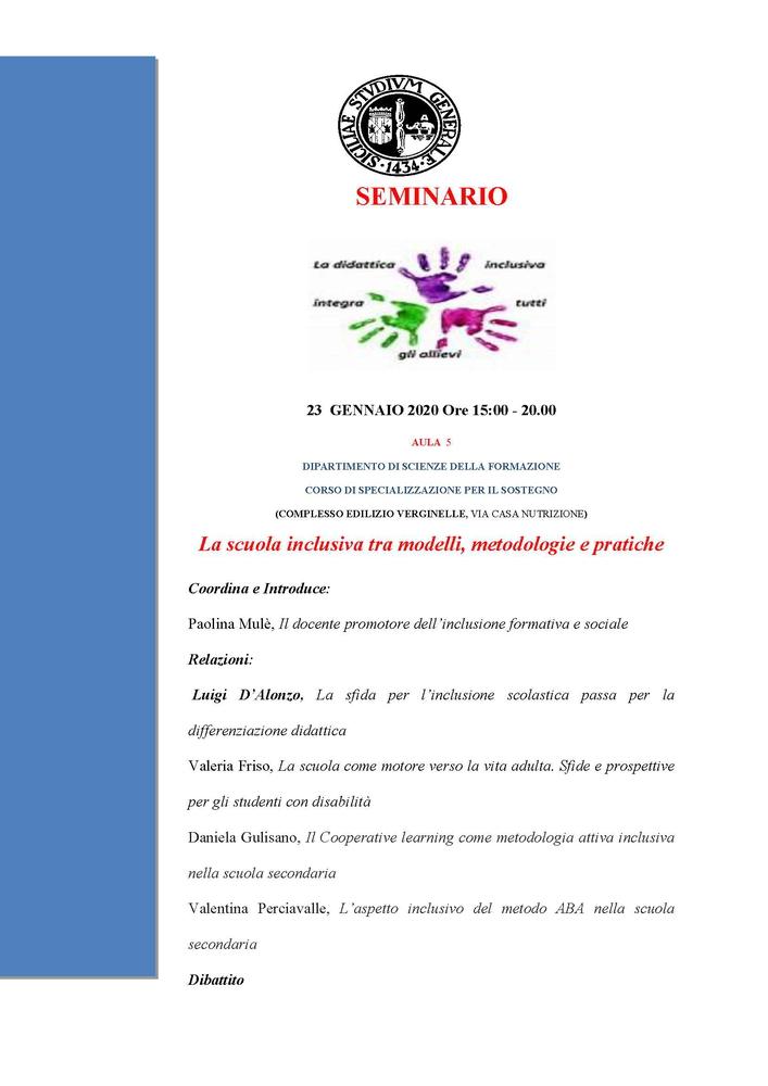 """Seminario """"La scuola inclusiva tra modelli, metodologie e pratiche"""" – 23 gennaio, Catania"""