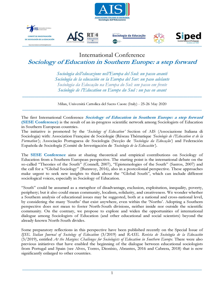 """Conferenza Internazionale """"Sociology of Education in Southern Europe. A step forward"""" – 25-26 maggio, Milano"""