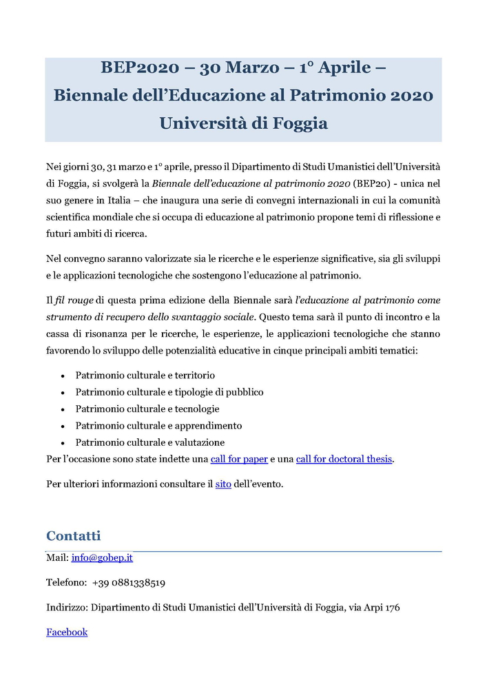 """Convegno """"Biennale dell'educazione al patrimonio 2020 (BEP20)"""" – 30-31 marzo e 1 aprile, Foggia"""