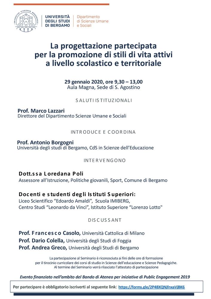 """Convegno """"La progettazione partecipata per la promozione di stili di vita attivi a livello scolastico e territoriale"""" – 29 gennaio, Bergamo"""