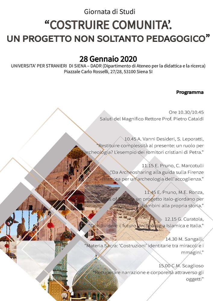 """Giornata di studio """"Costruire comunità. Un progetto non soltanto pedagogico"""" – 28 gennaio, Siena"""