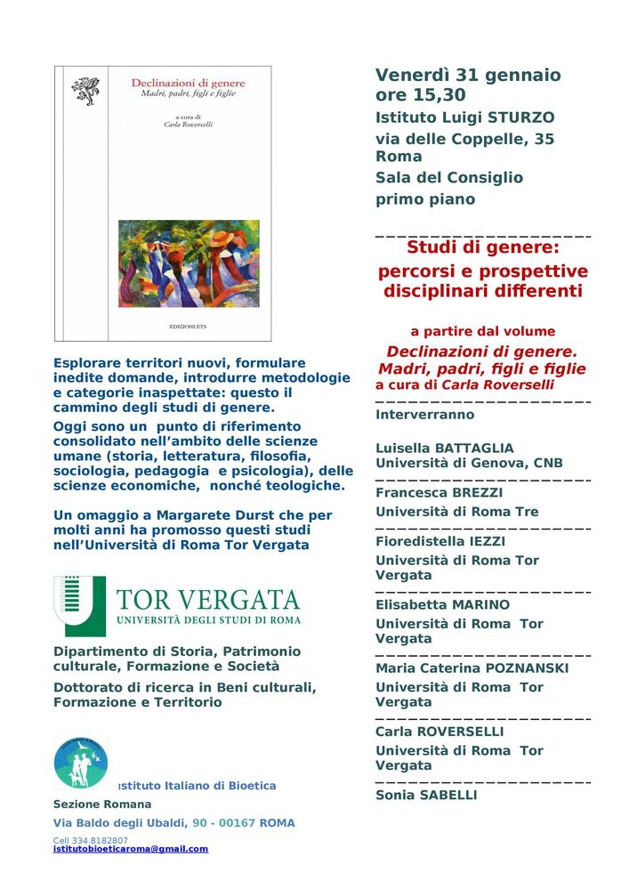"""Seminario """"Studi di genere. Percorsi e prospettive disciplinari differenti"""" – 31 gennaio, Roma"""