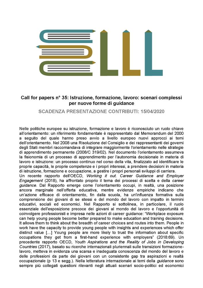"""Call for paper della rivista """"Lifelong Lifewide Learning"""" dal titolo """"Istruzione, formazione, lavoro: scenari complessi per nuove forme di guidance"""""""