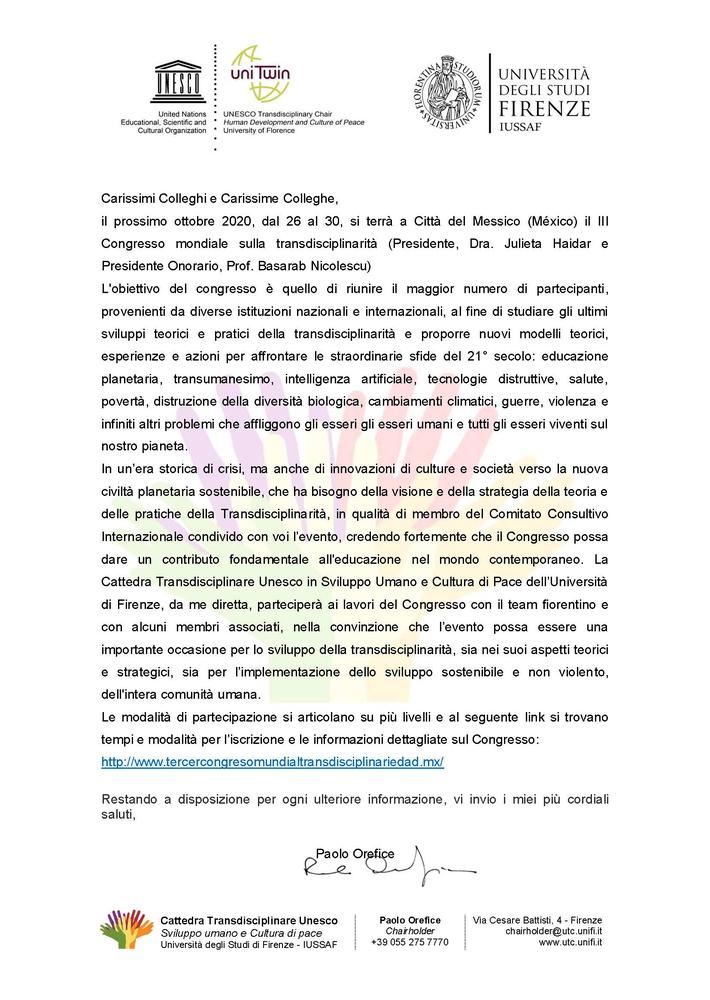 III Congresso mondiale sulla transdisciplinarità – 26-30 ottobre, Città del Messico (México)
