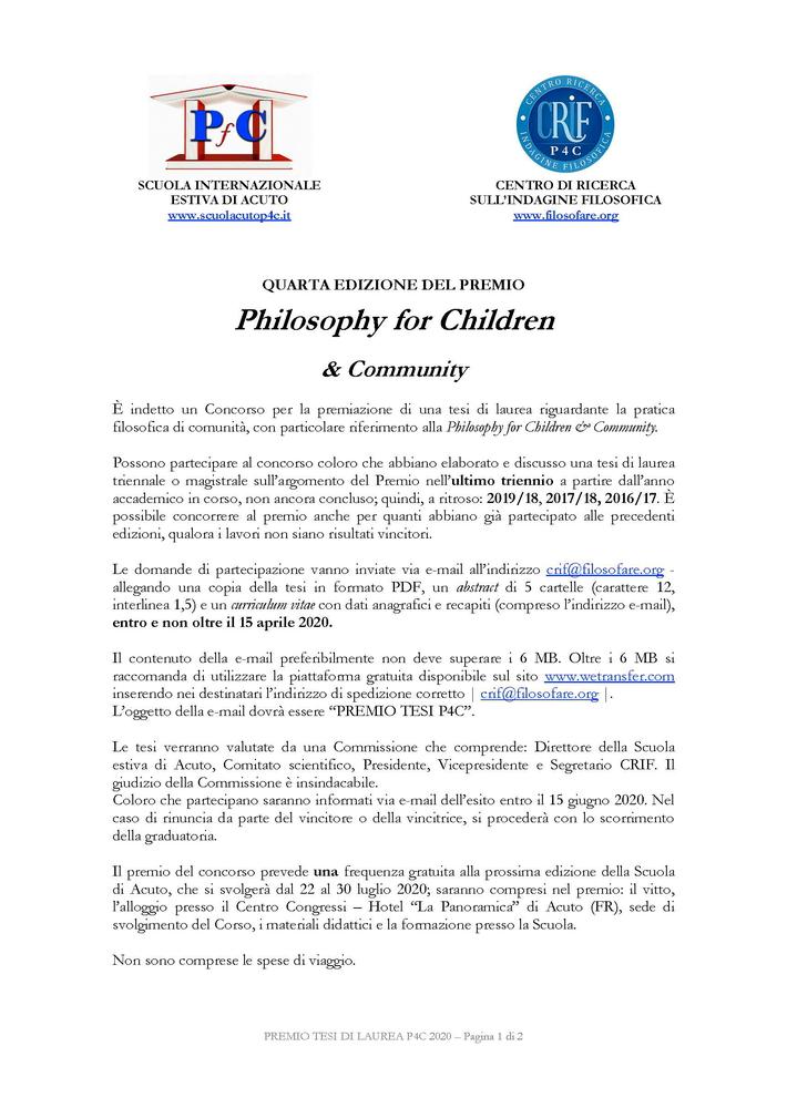 "Premio tesi ""Philosophy for Children & Community"""