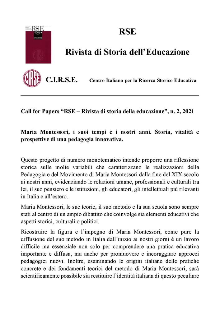 """Call per la rivista """"RSE – Rivista di Storia dell'Educazione"""" sul tema """"Maria Montessori, i suoi tempi e i nostri anni. Storia, vitalità e prospettive di una pedagogia innovativa"""""""