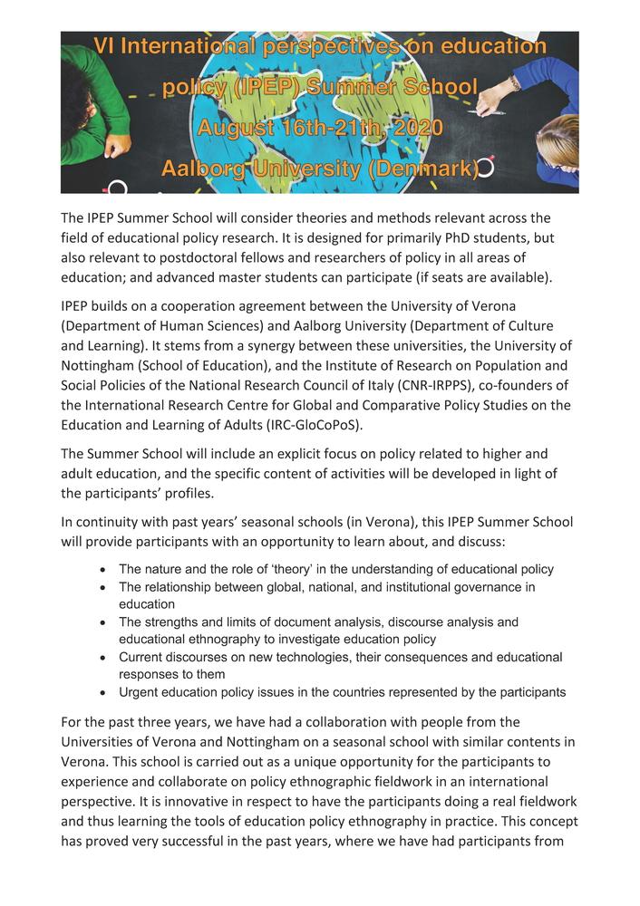"Summer School ""VI International Perspectives on Education Policy (IPEP)"" – 16-22 agosto, Aalborg (Danimarca)"