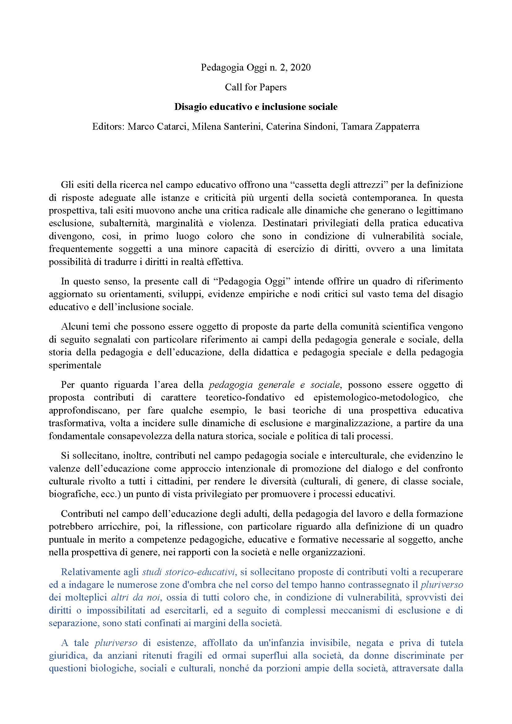 2020-03-05 – Call Pedagogia Oggi 2020/2