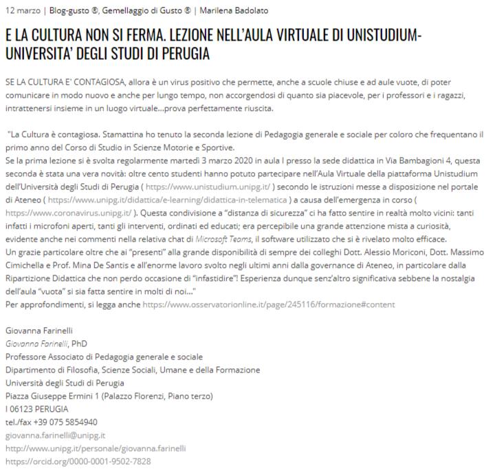 e la cultura non si ferma. Lezione nell'aula virtuale di UniStudium. Università degli Studi di Perugia