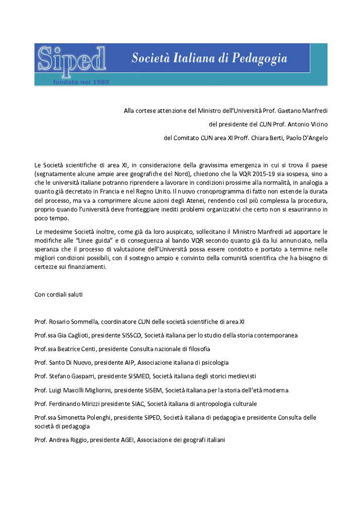 2020-04-01 – Richiesta sospensione VQR