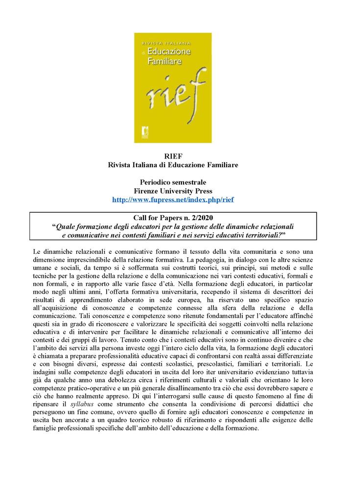 """Call for papers per """"RIEF – Rivista Italiana di Educazione Familiare"""" sul tema """"Quale formazione degli educatori per la gestione delle dinamiche relazionali e comunicative nei contesti familiari e nei servizi educativi territoriali?"""""""