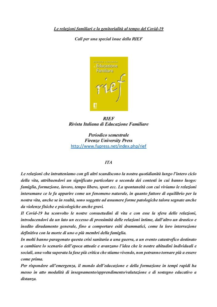 """Call for papers per special issue """"RIEF – Rivista Italiana di Educazione Familiare"""" sul tema """"Le relazioni familiari e la genitorialità al tempo del Covid-19"""""""