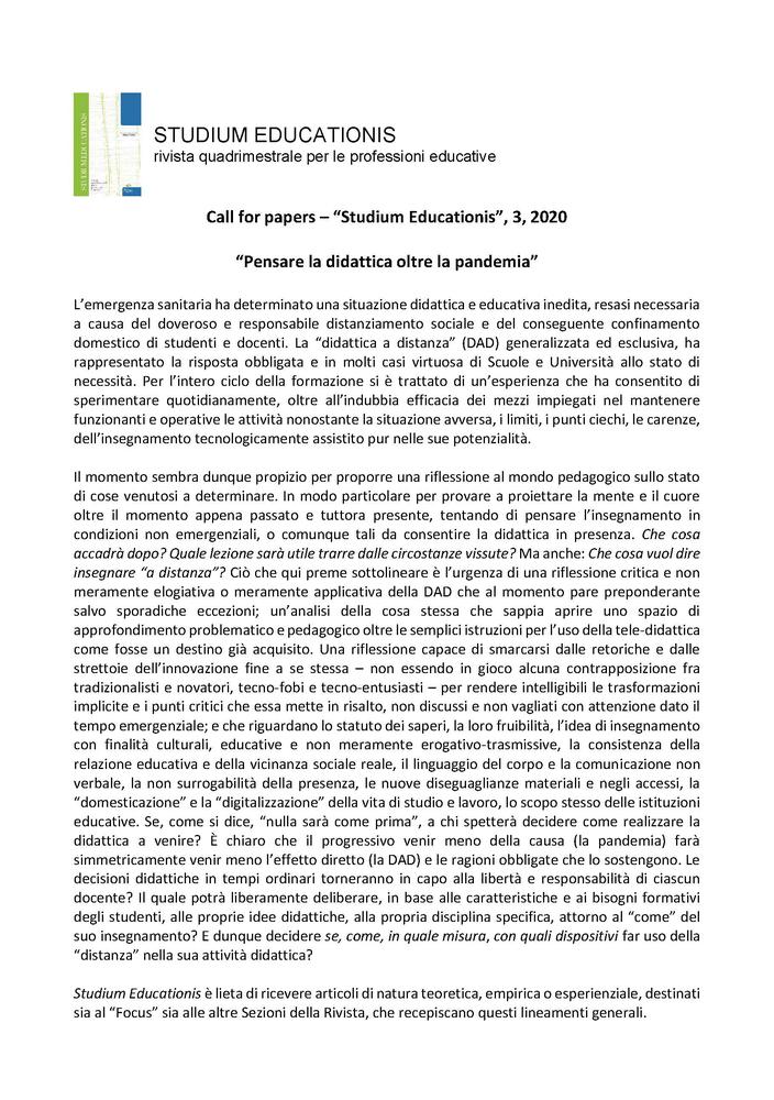 """Call for papers rivista """"Studium Educationis"""" sul tema """"Pensare la didattica oltre la pandemia"""""""