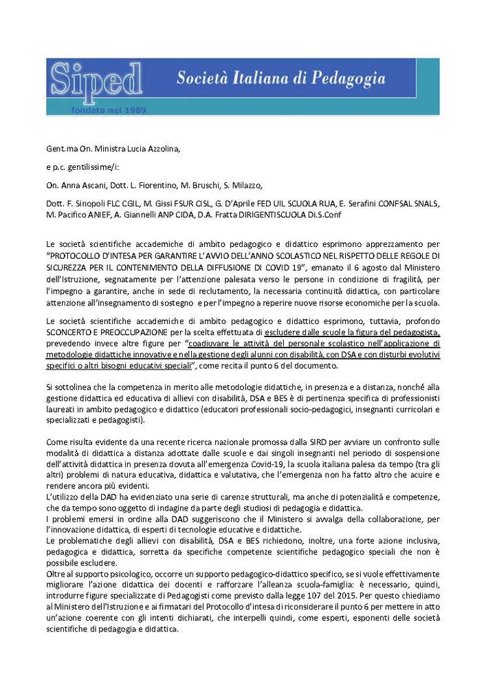 2020-08-08 – Comunicato società pedagogiche Ministero protocollo Covid