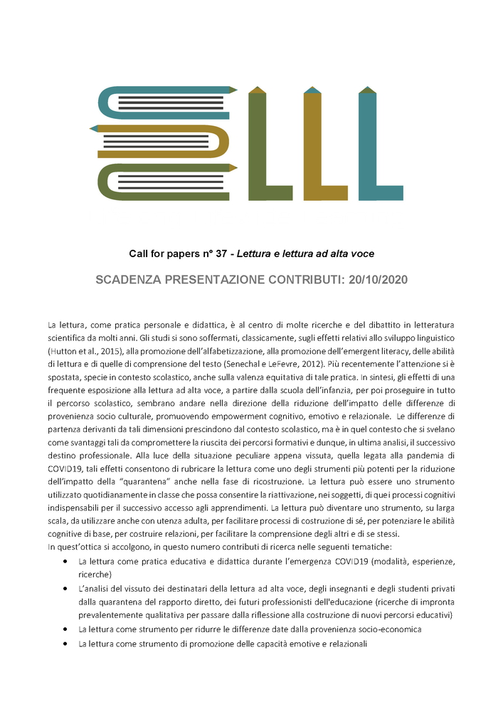 "Call for papers #37 rivista ""Lifelong Lifewide Learning"" sul tema ""Lettura e lettura ad alta voce"""