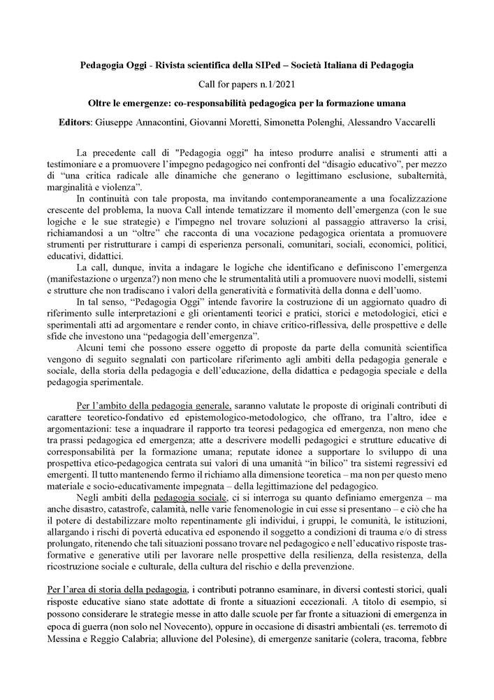 2020-09-14 – Call Pedagogia Oggi 2021/1