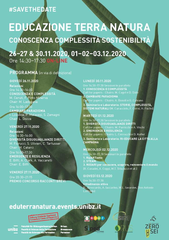 """V Convegno Internazionale """"Educazione Terra Natura Conoscenza Complessità Sostenibilità"""" – 26, 27 e 30 novembre, 1, 2 e 3 dicembre"""
