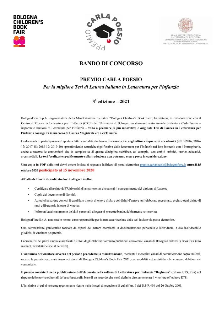 """III edizione """"Premio Carla Poesio"""" per Tesi di Laurea in """"Letteratura per l'Infanzia"""" – 15 novembre"""