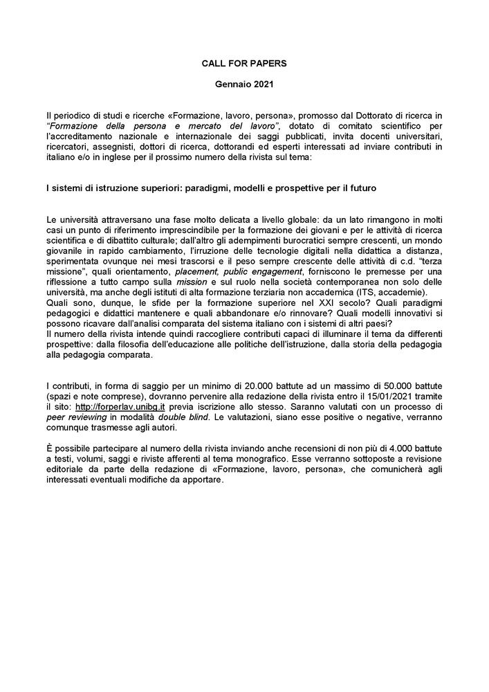 """Call for papers anno 2021 rivista """"Formazione, lavoro, persona"""""""