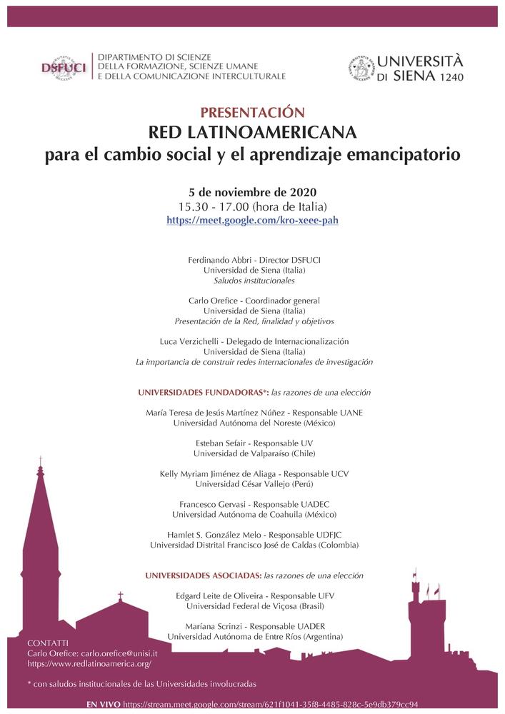 """Presentazione rete di ricerca """"Red LatinoAmericana para el cambio social y el aprendizaje emancipatorio"""" – 5 novembre"""