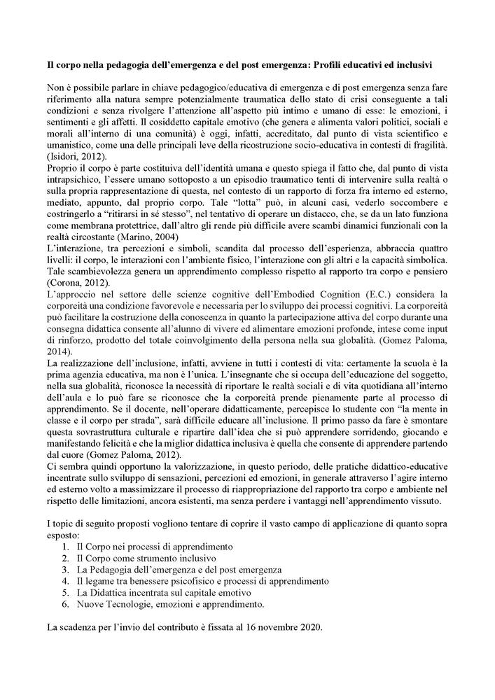 """Call for Papers """"Giornale di Educazione alla Salute, Sport e Didattica Inclusiva"""""""
