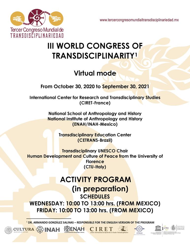 Congresso internazionale sulla Transdisciplinarietà – 30 ottobre 2020 – 30 settembre 2021