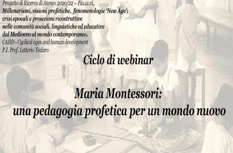 """Ciclo di webinar """"Maria Montessori. Una pedagogia profetica per un mondo nuovo"""" - 9 novembre - 30 novembre - Locandina"""
