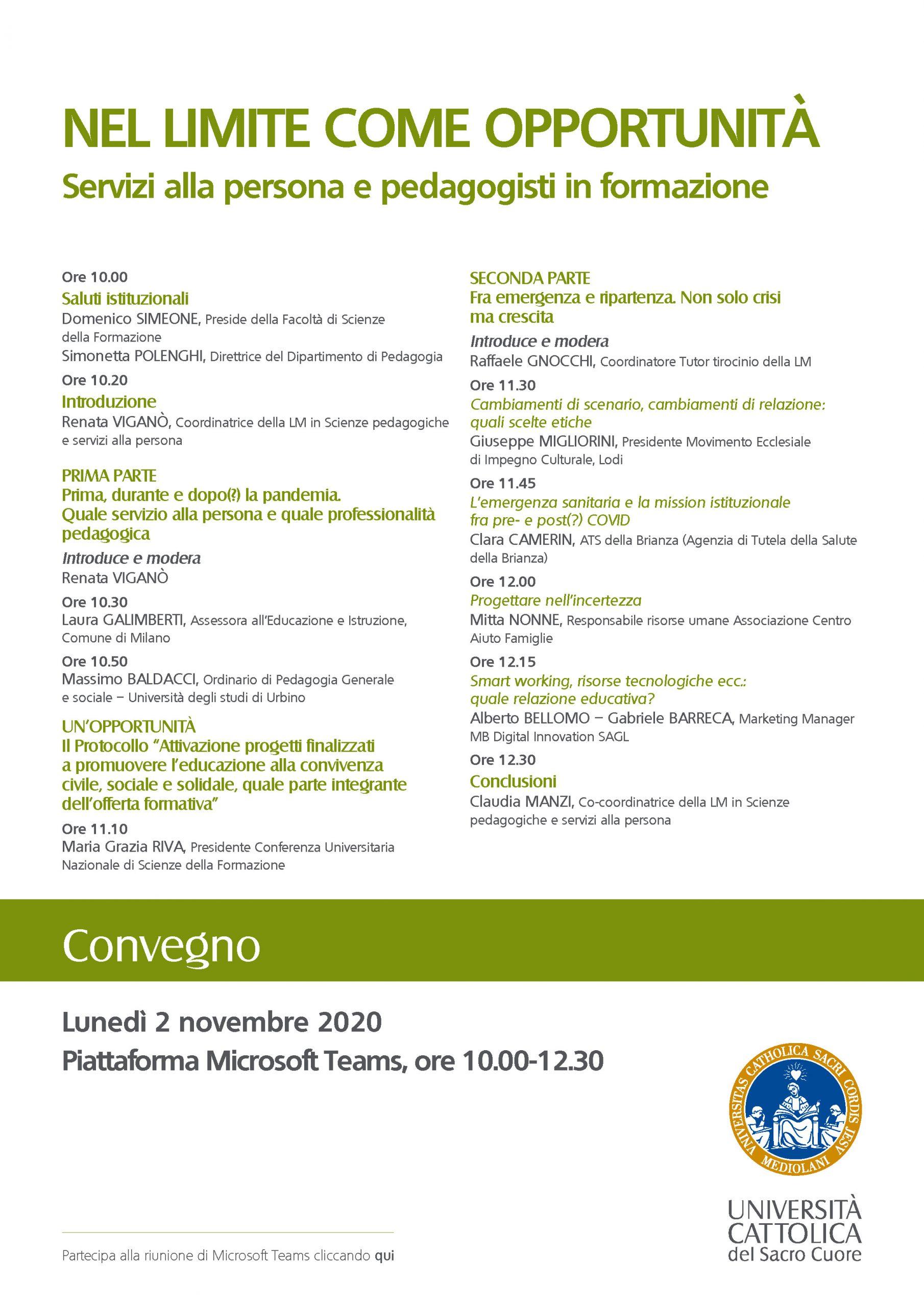 """Convegno """"Nel limite come opportunità. Servizi alla persona e pedagogisti in formazione"""" - 2 novembre - Locandina"""