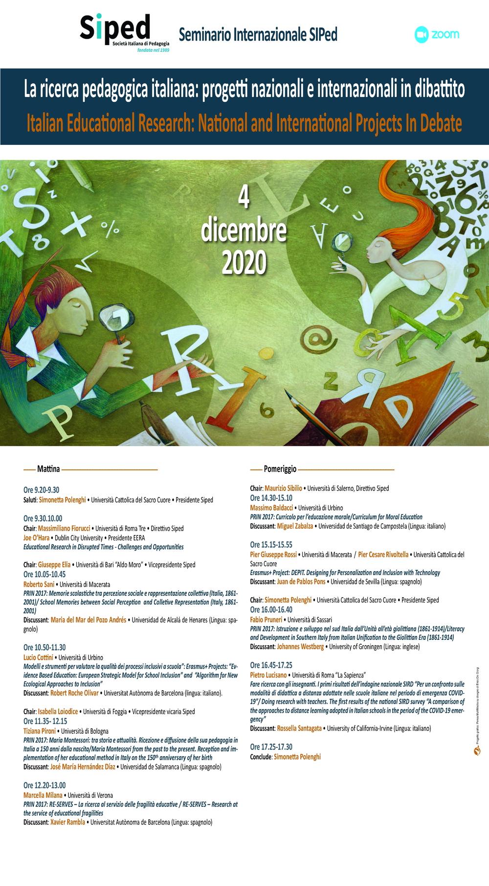 """Seminario Internazionale """"La ricerca pedagogica italiana"""" 4 dicembre 2020"""