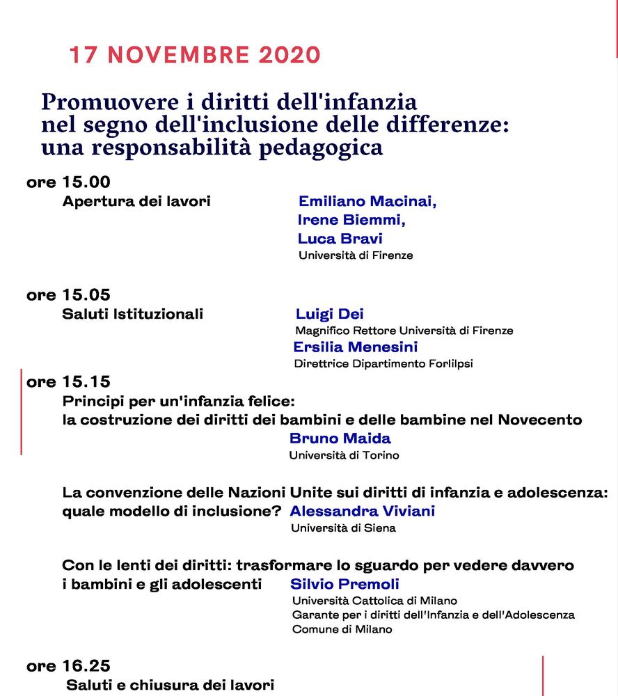 """Webinar """"Promuovere i diritti dell'infanzia nel segno dell'inclusione delle differenze. Una responsabilità pedagogica"""" - 17 novembre - Locandina"""
