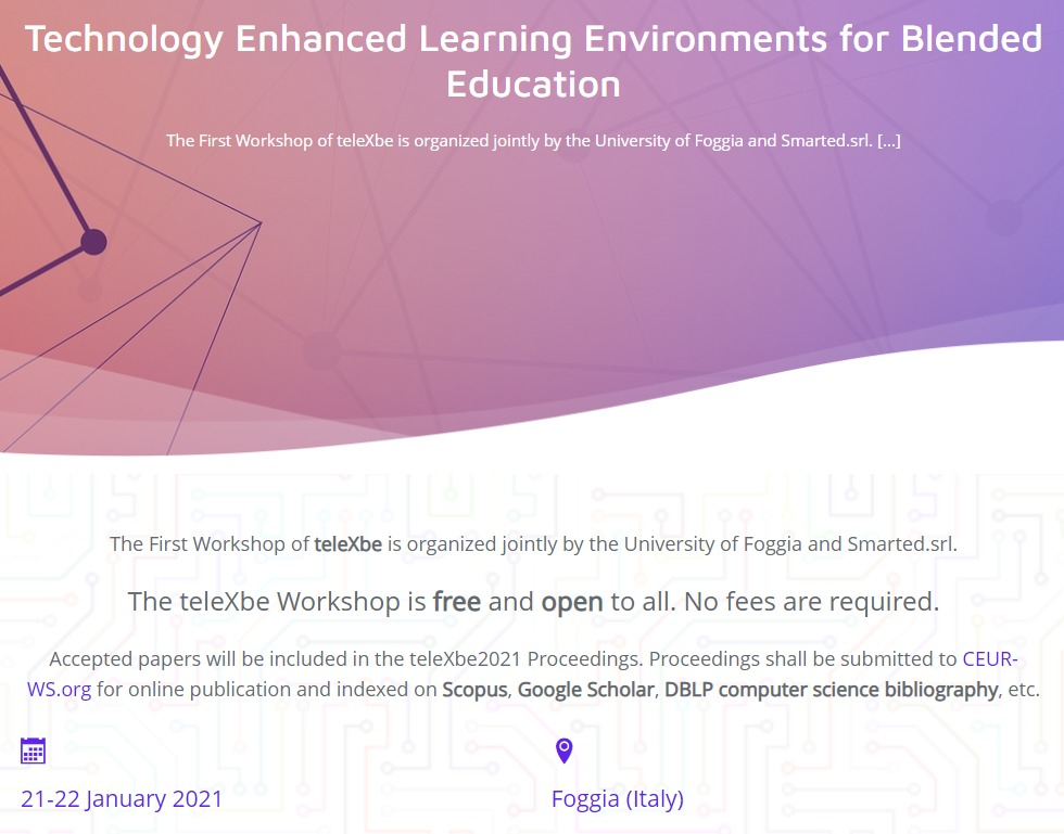 """Workshop internazionale """"First Workshop on Technology Enhanced Learning Environments for Blended Education"""" – 21-22 gennaio 2021"""